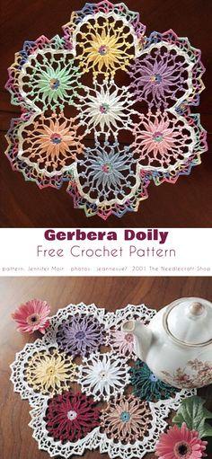 Gerbera Doily Gerbera Flower, Butterfly Flowers, Butterflies, Crochet Home, Free Crochet, Knit Crochet, Project Free, Crochet Doilies, Beautiful Patterns
