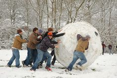 So... what happens if you start rolling a snowball and then you don't stop? Challenge your family and friends to a snowball rolling contest. Create teams so the balls can become as big as possible. Use the balls to make a massive fort afterwards if desired. ;)