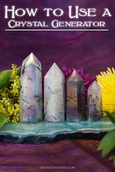 We use generators and single-terminated crystals to create vortexes. As the energy gathers at the base, it is directed toward the tip, heads sky-ward, and then is channeled back down toward the bottom of the crystal. This movement creates a circle of ener Crystal Uses, Crystal Magic, Crystal Healing Stones, Crystal Grid, Chakra Crystals, Crystals And Gemstones, Stones And Crystals, Gem Stones, Healing Gemstones