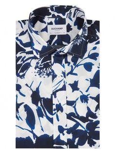 The Duchamp OVERSIZED FLORAL PRINT SHIRT in NAVY. Luxury Men's Shirts | Designer Menswear | Elegant Shirting Duchamp London