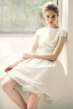 Pretty White Dress | Street-length with boat neck, short sleeves, and full skirt | Simple, feminine,  and classy | by sososimps