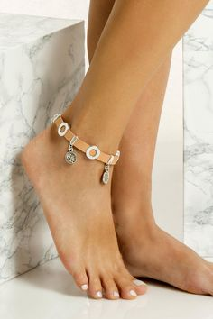 Handmade chunky leather anklet with silver plated embellishments that don't tarnish with the sun. It perfectly matches with slip-on sandals, wear it with cropped hemlines all summer long, Beaded Anklets, Anklet Bracelet, Bangles, Bracelets, Barefoot, Silver Plate, Boho Chic, Embellishments, Plating