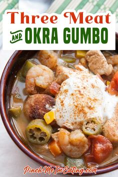 With chicken, shrimp, spicy andouille sausage, okra, and tons of other veggies, this gumbo is packed with FLAVOR and serves a crowd! I didn't take any shortcuts on this gumbo, y'all. Not only does it have double thickening power, it contains not one, but THREE species of animals, for carnitarians like myself! | Pinch Me I'm Eating @pinchmeimeating #gumborecipes #authenticgumborecipes #comfortfood #fallrecipes #winterrecipes #coldweatherrecipes #okragumbo #pinchmeimeating Chowder Recipes, Soup Recipes, Spicy Recipes, Chili Recipes, Gourmet Recipes, Fall Recipes, Simple Recipes, Party Recipes, Sweets Recipes
