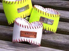 Baseball or Softball Cuff Bracelet...Personalized Sports Bracelet...Hand Stamped. $27.50, via Etsy.