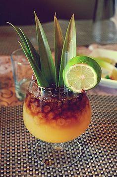 """No Ka Oi"" Mai Tai 1 oz pineapple rum ½ oz Grand Marnier ½ coconut rum Muddle liquor with 2 ½ oz freshly made sugar-lime syrup with 2 fresh lime wedges, 2 pineapple wedges, and 2 orange wedges. Hawaiin Drinks, Hawaiian Cocktails, Summer Drinks, Cocktail Drinks, Mai Tai Cocktail Recipes, Beach Drinks, Cocktail Parties, Hawaiian Dishes, Cocktail"