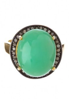 Rivka Friedman Green Chalcedony & Champagne Diamond Bold Dome Stone Ring by Blowout on @HauteLook
