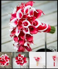 Red-cascading-bouquet-set
