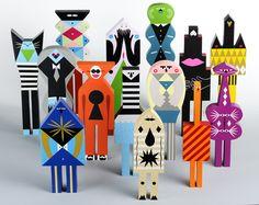 Fabulously funky painted wooden folk art design dolls by Séverin Millet. Misaki Kawai, Making Wooden Toys, 3d Figures, Vinyl Toys, Wooden Dolls, Designer Toys, Wood Toys, Paper Toys, Wooden Diy