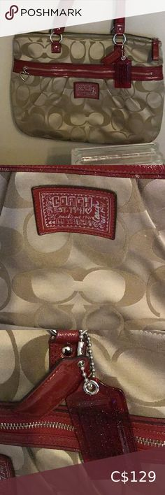 AUTHENTIC COACH POPPY SPOTLIGHT TOTE 100 % Authentic Beige or Tan with Red Handles Very Cute Big Tote Coach Bags Coach Tote Bags, Coach Satchel, Coach Purses, Coach Rogue, Michael Kors Designer, Small Messenger Bag, Coach Poppy, Coach Shoulder Bag, Vintage Coach