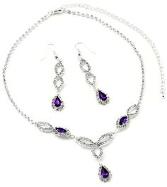 Take advantage of our 10% off sale on Amazon until the end of June. #Sale #fashionjewelry #Amazon Silver Amethyst Teardrop Dangle Earrings & Amethyst Teardrop Accents Necklace Jewelry Set