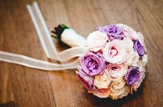 purple pink cream wedding bouquet