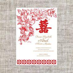 DIY Printable/Editable Chinese Wedding Invitation Card by ImLeaf ...