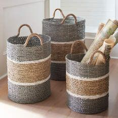 Grab these Jambi Baskets fast, because they'e made of everyone' favorite basket material: distinctive, richly colored seagrass (handwoven by skilled artisans). decor baskets of 3 Rope Basket, Basket Weaving, Bamboo Basket, Home Decor Accessories, Decorative Accessories, Decorative Baskets, Decorative Accents, Creation Deco, Basket Decoration