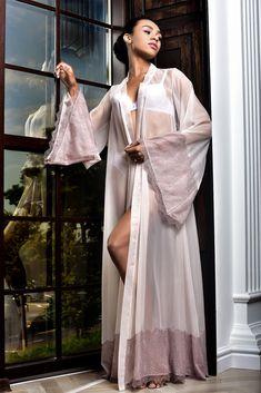 Lace Bridal Robe, Bridal Gowns, Kimono Dressing Gown, Wedding Night Lingerie, Wedding Kimono, Bridesmaid Robes, Floor Length Dresses, Night Gown, Chiffon