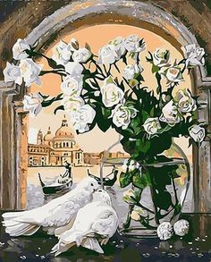 """DIY Painting By Numbers - White Pigeons And Flowers (16""""x20"""" / 40x50cm)"""