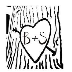 heart carved on a tree with initials carved in door stampoutonline, $23,00