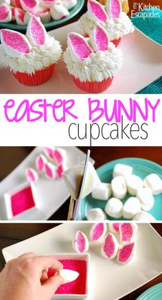 a great Easter cupcake idea! These little bunny ears cupcakes are super easy to make and super cute!What a great Easter cupcake idea! These little bunny ears cupcakes are super easy to make and super cute! Easter Bunny Cupcakes, Kid Cupcakes, Cute Easter Bunny, Easter Treats, Easter Food, Happy Easter, Spring Cupcakes, Mocha Cupcakes, White Cupcakes