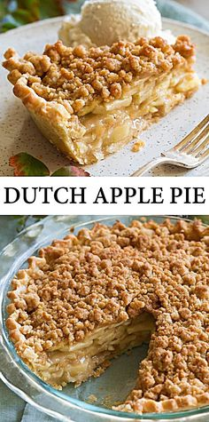 This Dutch Apple Pie is my all-time favorite apple pie! Made with a flaky homemade pie crust, a deliciously flavorful apple pie filling and it's finished with an sweet and buttery streuselcrumb topping. Mini Desserts, Apple Desserts, Delicious Desserts, Yummy Food, Easter Desserts, Tasty, Apple Pie Recipes, Baking Recipes, Fall Recipes