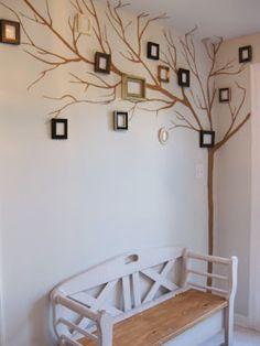 DIY picture frame wall tree #wallart