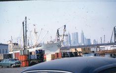 35mm Slide Cars Brooklyn Pier 1960 New York City Skyline Cargo Ship