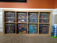 Playroom Toy Organization Expedit book case from IKEA Sterilite storage bins from Walmart
