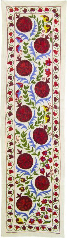 Pomegranate suzani (long nurata suzani zardevor). Uzbek design. Note:Suzani from suzan, Farsi (Iranian/Persian) for needle.