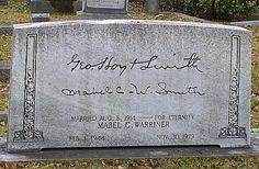 Tombstone with Signatures of the Buried Couple and it says Married Aug 8, 1914 --- For Eternity. This is so romantic and beautiful.