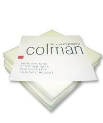 "Colman Mesh Backing is the perfect match for embroidering on white or other light colored fabrics. Offers a soft feel to the inside of the garment and does not show-through like other heavier backings would. Comes in a bundled #250 quantity, ready-to-use 8"" squares. Embroidery Supplies, Embroidery Thread, Perfect Match, Squares, Fabrics, Mesh, Cards Against Humanity, Feelings, Tejidos"