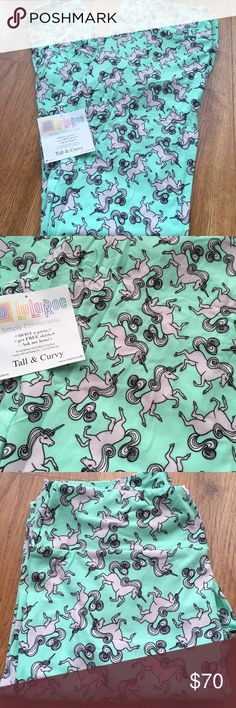 Unicorn TC LuLaRoe Leggings Actual unicorn leggings!!! These are amazing! Mint with super light pink & white unicorns! HTF & BNWT!! LuLaRoe Pants Leggings