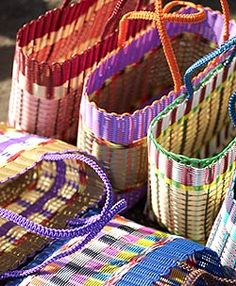 Fairtrade Woven Plastic Baskets from Guatemala