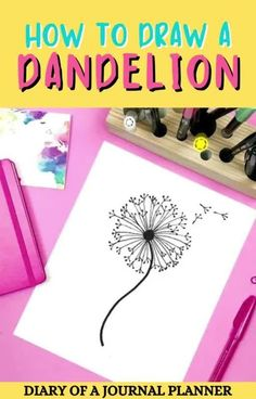 The best tips and tricks for you to learn how to draw a dandelion! #doodle #dandelion #drawingflowers Simple Flower Drawing, Easy Flower Drawings, Flower Drawing Tutorials, Easy Doodles Drawings, Cool Doodles, Easy Doodle Art, Drawing Flowers, Simple Doodles, Doodle Ideas