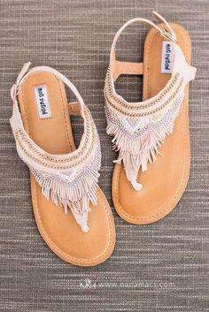 The Dancing Gypsy Embellished Fringe Suede Sandals In Blush - NanaMacs Boutique