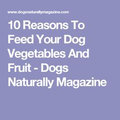 10 Reasons To Feed Your Dog Vegetables And Fruit - Dogs Naturally Magazine Dog Vegetables, Fruits And Vegetables, Fruits For Dogs, Cushing Disease, Your Dog, Cancer, Magazine, Health, Nature
