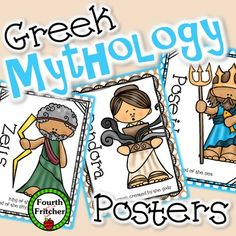 This product includes 24 colored posters depicting various figures, with a short description of each, from Greek mythology. You can hang them around your room as a visual reference for students.Additionally, there are 24 colored cards (and black and white versions) of the same figures with more elaborate descriptions.