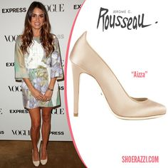 "Nikki Reed in Jerome C. Rousseau ""Aizza"" Cream Patent Leather Pumps"