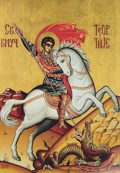 Theodore Tyro is remembered on the First Friday of the Great Fast. Byzantine Icons, Byzantine Art, Hl Georg, Writing Icon, Monastery Icons, Fighting Demons, Saint George And The Dragon, Vampire Stories, Religious Icons
