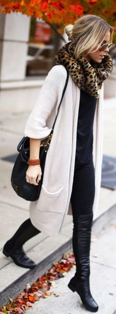 Gorgeous Oversized White Sweater ,Scarf,Handbag With Black Outfit