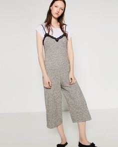 Pin for Later: 35 Stylish Items You Won't Regret Wearing on the Plane  Zara Jumpsuit With Lace Trim Neckline ($50)