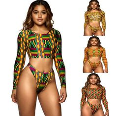 e4cc60e9fe African Swimwear Thong Bikini Set Long Sleeve Swimsuit Women Biquini Sexy  High Waist Tankini Beachwear Two