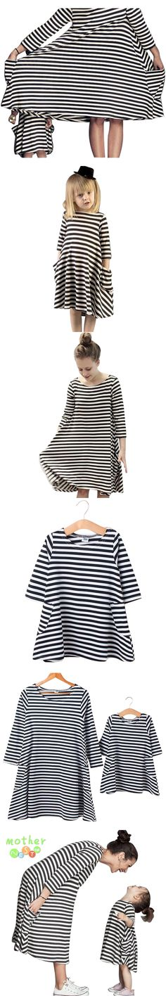 Fashion leisure 2017 New Spring&Autumn Style Family Matching Outfits Mother And Daughter Fall Full Balck Striped Dress Free