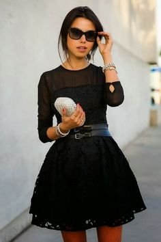 Black tulip lace dress.