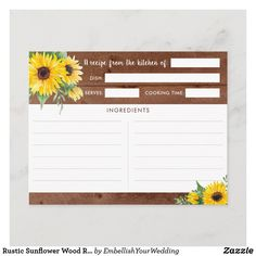 Rustic Sunflower Wood Recipe Cards Recipe Cards, Cooking Time, Smudging, Embellishments, Bridal Shower, Rustic, Simple, Wood, Prints