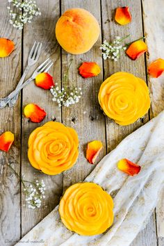 Black sesame tartlets with cream and peaches