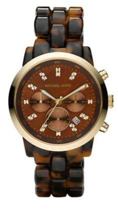 LOVE this watch for Fall/Winter  Michael Kors Oversized Tortoise Watch  Tortoise acrylic bracelet. Shiny golden stainless steel case. Dark brown face with golden accents. Crystal time stop detail. Three sub-dials.  MK5216