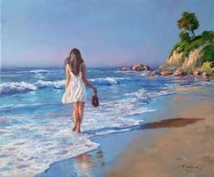 Art Plage, Beach Watercolor, Ocean Art, Beach Art, Acrylic Art, Cartoon Art, Love Art, Impressionist, Landscape Paintings