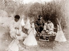 I am excited to show this picture today, because I have really never seen anything like it in the past. The picture shows Indian Children playing with dolls and miniature Tipis. I had just never imagined children building miniature versions of their camp. What an intriguing image.
