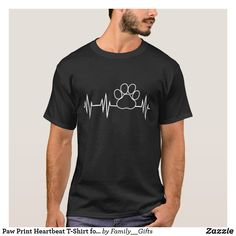 Paw Print Heartbeat T-Shirt for Dog Lovers English Foxhound, American Foxhound, English Springer, English Setter, Toy Fox Terriers, Wire Fox Terrier, Dandie Dinmont Terrier, Chiefs Shirts, Black Russian Terrier