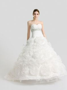 Ivory Sweetheart Organza over Satin Ball Gown with Rhinestone and Rosette