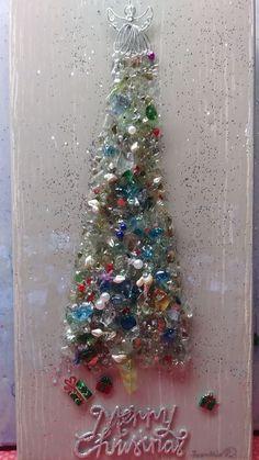 Medium broken glass christmas tree - Frankie's works of art Large Christmas Tree, Christmas Cards, Smash Glass, Broken Glass Art, Resin Crafts, Epoxy, Shells, Jewelry Making, Medium