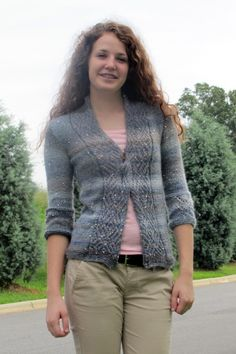 "Sparkle in the Storm Cardigan Free Knitting Pattern  This sweater will add in bit of shine to your day in even the gloomiest  weather! Designed by Amy Gunderson, Sparkle in the Storm is a lace trimmed  cardigan knitting pattern featuring Universal Classic Shades Sequins Lite  yarn. It has 3/4 sleeves and wide lace panels on cuffs and neckband. Close  with a shawl pin.  Sizes: Women's Small (Medium, Large, X, 2X, 3X)  Completed Cardigan Measures: Bust: 32 (36, 40, 44, 48, 52)"" Length: 23…"